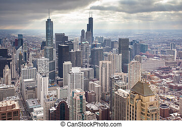 Chicago Skyline - Chicago skyline on a stormy winter's day...