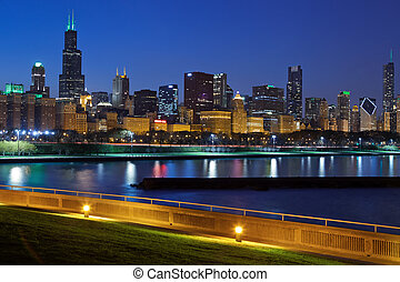 Chicago skyline. - Image of Chicago skyline at night with...