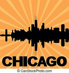 Chicago skyline sunburst