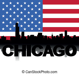 Chicago skyline text flag