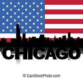 Chicago skyline text flag