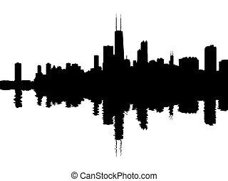 chicago, skyline, weerspiegelde