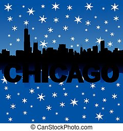chicago skyline winter illustration