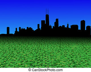 Chicago skyline with abstract dollar currency foreground illustration