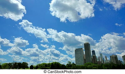 Chicago Skyline with Clouds Crossing the Sky Time Lapse