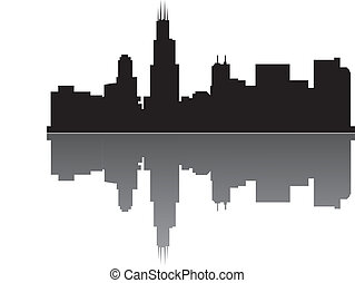 chicago skyline with reflection
