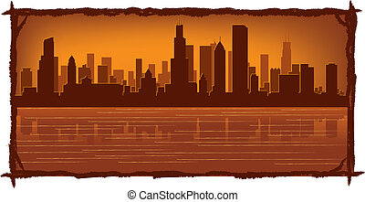 Chicago skyline with reflection in water