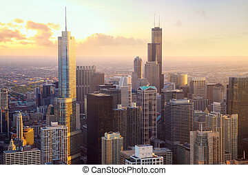 Chicago skyscrapers at sunset