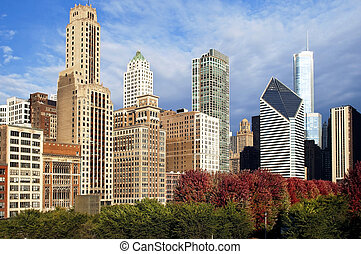 Chicago skyscrapers - view of the Chicago high-rise...