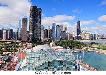 chicago, stad, i centrum
