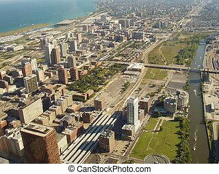 chicago, stad, luchtmening