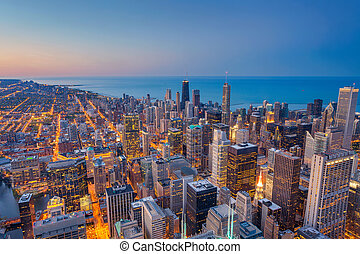 Chicago. - Cityscape image of Chicago downtown during...