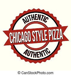 Chicago style pizza label or sticker