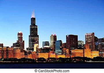 chicago, sylwetka na tle nieba, na, zmierzch