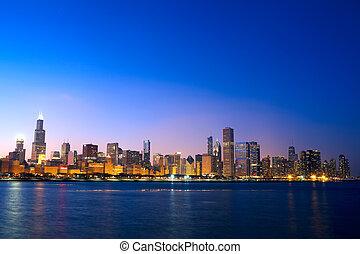 chicago, sylwetka na tle nieba