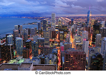 chicago, sylwetka na tle nieba, panorama, antenowy prospekt