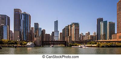 chicago, sylwetka na tle nieba, panorama
