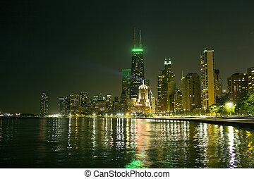 chicago, sylwetka na tle nieba, w nocy