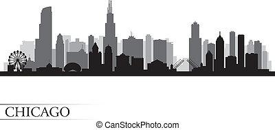 chicago, szczegółowy, sylwetka na tle nieba, miasto, ...