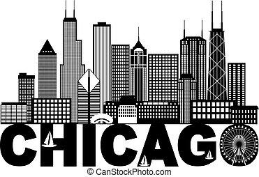 chicago, texte, noir, blanc, horizon, ville, illustration