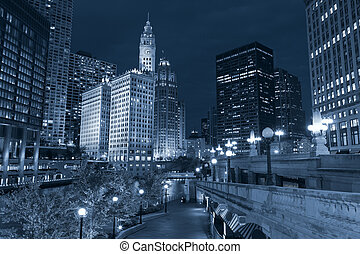 Chicago. - Toned image of Chicago downtown riverfront at...