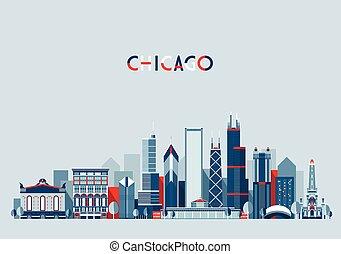 Chicago United States City Skyline Vector Trendy
