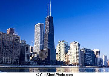 Chicago urban skyline - Chicago skyline with urban...