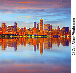 Chicago USA sunset panorama