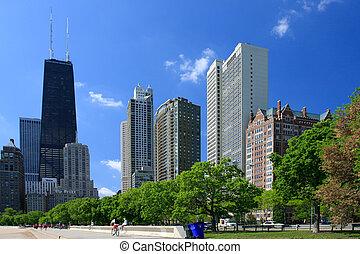 chicago, utca, kilátás