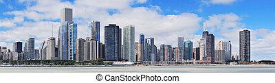 chicago, város, urban égvonal, panoráma