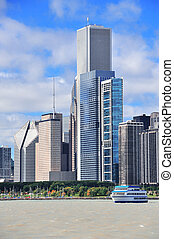 chicago, város, urban égvonal