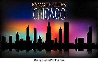 chicago, vetorial, multi-colorido, silueta, cidade, ilustração, sky., noturna, fundo