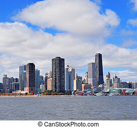 chicago, ville, horizon urbain, panorama