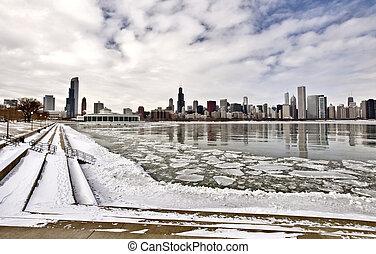 chicago, ville, lac, en ville, michigan