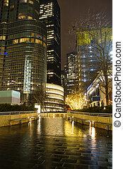 chicago, w nocy, z, deszcz