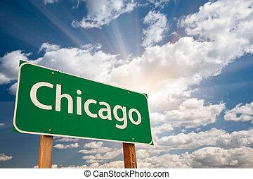 chicago, zöld, út cégtábla, felett, elhomályosul