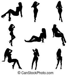 chicas, posando