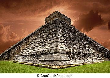 chichen, 古代, itza, メキシコ\, ピラミッド, kukulcan, mayan, 寺院, yucatan
