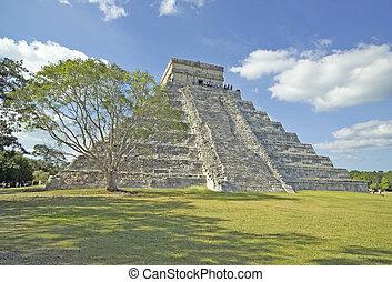 Chichen Itza-41234 - Chichen Itza pyramid with tree in...