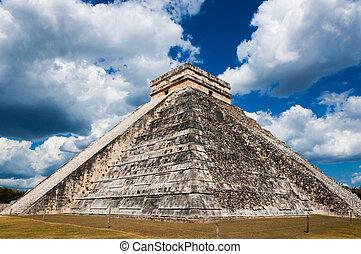 chichen-itza, castillo de carril elevado, maya, themple, de,...