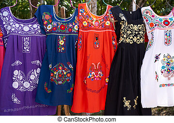 Chichen itza embroided dresses Mexico - Chichen itza...