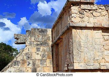 Chichen Itza hieroglyphics Mayan ruins Mexico - Chichen Itza...