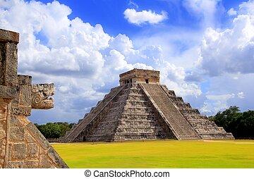chichen itza, kígyó, és, kukulkan, mayan, piramis