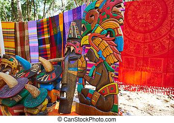 Chichen itza Mayan handcrafts and serapes in Yucatan Mexico