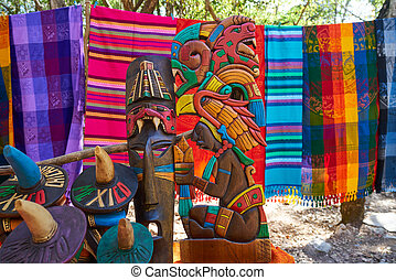 Chichen itza Mayan handcrafts and serapes in Yucatan Mexico