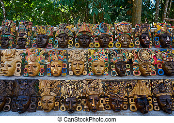 Chichen itza Mayan handcrafts wood masks - Chichen itza...