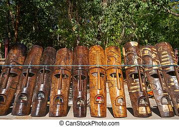 Chichen itza Mayan handcrafts wood masks - Chichen itza...