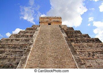 chichen itza, mayan, kukulcan, piramis, alatt, mexikó