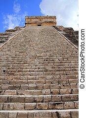 Chichen Itza Mayan Kukulcan pyramid in Mexico