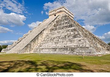 chichen itza, ruinas antiguas, en, méxico, ser, un, popular,...